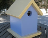 Birdhouse with Hanging Hook, Light Blue, Pale Yellow