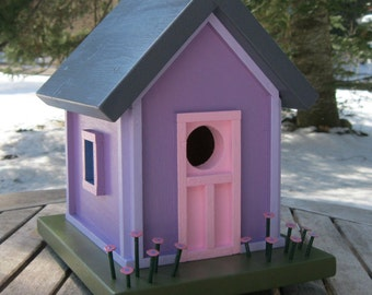 Birdhouse, Donette's Cottage, Purple with Pink Door