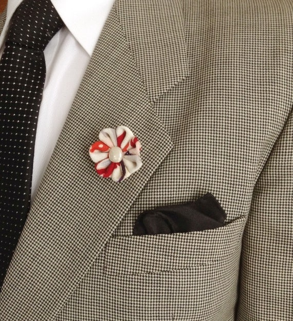 Men's Lapel Flower Pin: Kanzashi Colorful Kimono Silk Includes Shipping to US