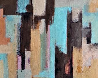 "Original Abstract Acrylic Painting Urban Modern Cityscape Light Aqua Brown Neutral Art 20x16"""