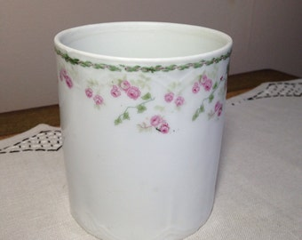 Vintage Porcelain Jar With Pink Rose Sprays Bavaria Jam Marmelade Spoons