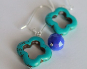 SALE Cobalt blue and Turquoise Clover Earrings