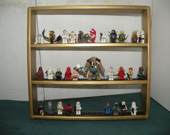Handcrafted Solid Pine Gloss Gold Painted, Legos Minifigure  Display Shelf w/ Black 4x wide  Legos plates