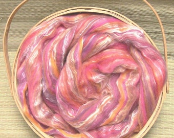 Merino Wool/ Silk Roving, Sunset & Salvia , 4 ounces