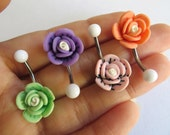 Belly Button Ring Jewelry. Choose Your Color Rose Belly Button Ring Flower Navel Stud Jewelry Barbell Piercing Pink Orange Blue Grey White