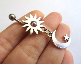 Belly Button Ring Jewelry. Celestial Moon Star And Sun Blue Opal Rainbow Garnet Stone Belly Button Ring Jewelry Charm Dangle Navel Piercing