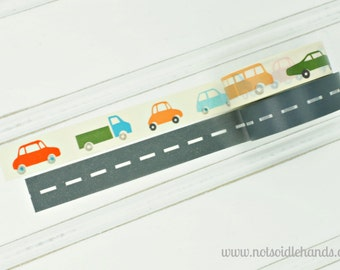 Washi Tape Cars & Trucks on the Road Rolls Choose Your Color Cars Trucks, Roadway Street, or Choose Both Great for Christmas