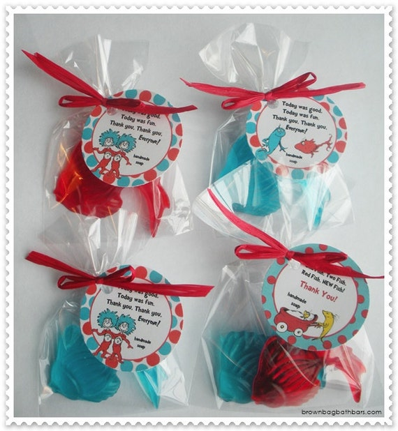 One Fish Two Fish Red Fish Blue Fish Carnival Goldfish Elmo Cat in the Hat Pool Party Favors Handmade Soap (20 complete favors with tags)