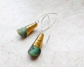 Rolled Verdigris Brass Earrings