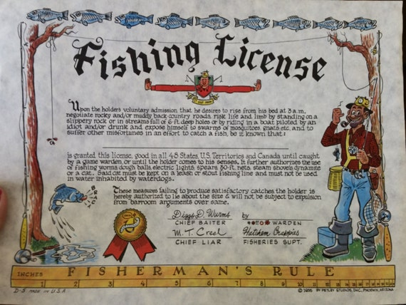 Items similar to vintage 1955 fake gag hunting fishing and for Fishing license illinois
