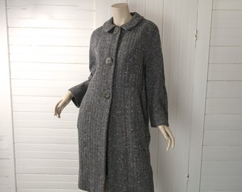 50s Swing Coat in Storm Gray- 1950s Pin Up- Tweed- Large- Wool