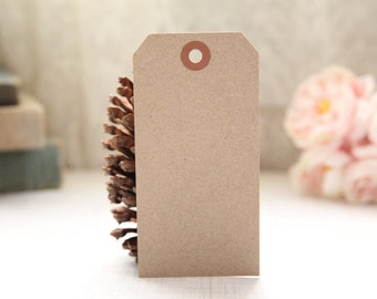 25 LARGE Eco-Friendly Kraft Shipping Tags - 4 3/4 x 2 3/8, Packing Tags, Shipping Tags, Holiday Tags, Favor Tags
