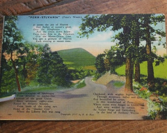 Vintage Linen Postcard, Pennsylvania, Penn's Woods, 1930s, Poem, H.H. Hain, Unused