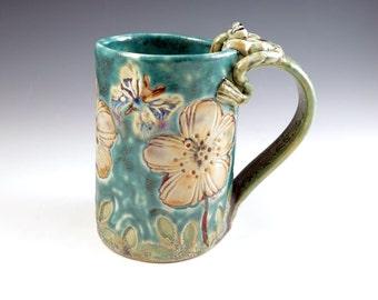 Handmade Poppy Mug  - Peach Flower - Large Coffee Tea Mug - Frog Cup - 254