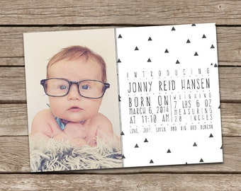 Photo Birth Announcement : Jonny Modern Printable Custom Aztec Tribal Triangles Boy Baby Announcement