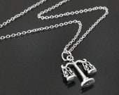 Antique Silver Balance Scale Lawyer Justice Necklace