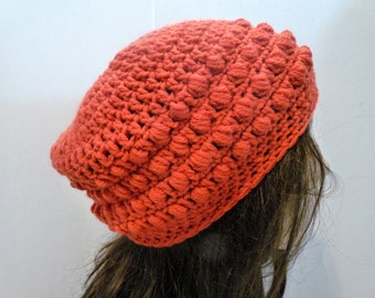 Crochet Slouchy Hat in Brick Red, For Women and Teens, Beret, Tam