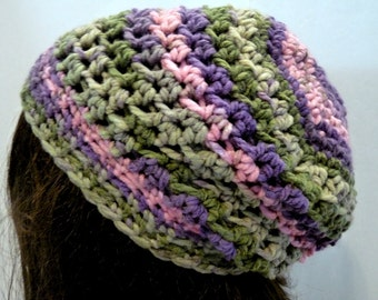 Crochet Slouchy Hat in Pink, Green, Purple, For Teens and Women, Beret, Tam, Beanie