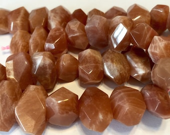"Peach moonstone faceted side drilled nuggets 4"" strand"