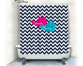 Personalized Shower Curtain - Navy Blue Chevron with Hot Pink and Turquoise Whales - With Names - Any Color