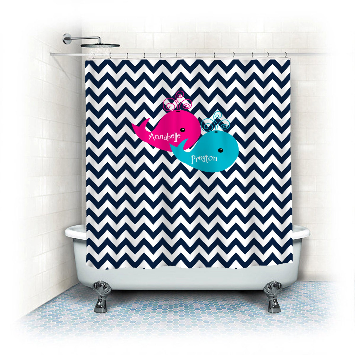 Personalized Shower Curtain Navy Blue Chevron With Hot Pink