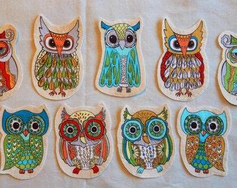4 Piece Fabric Iron On Appliqué Owl Set