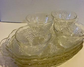 Vintage Glass Snack Set Grape Design