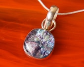 Solid Sterling .925 Silver Handmade Dichroic Fused Glass Pendant Necklace