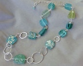 PRICE REDUCED: Ancient Roman Glass and Hammered Silver Necklace