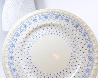 SPODE Ermine / blue Centurion luncheon plates / serving / blue fleur de lis / blue cross / England / elegant holiday table / embossed