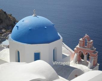 Santorini Greece Digital download / Blue Dome / Charming buildings / Crisp white / Spring / Summer / Photograph / Art download / Home Decor
