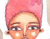 African American 'Pretty Bow' Greeting Card