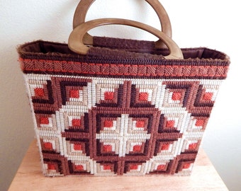 vintage shopping bag, Hippie Needlepoint ,southwestern tribal, 60s