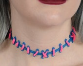 Cute creepy -Bubble Gum  Pink Stitches  on Electric Blue Kawaii Choker Necklace