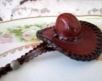 Vintage Leather Miniature Cowboy Western Hat Pin Brooch