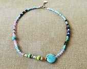 Blue Green Pink Beaded Necklace Layering Necklace Wooden Wood Necklace Short Necklace Boho Choker