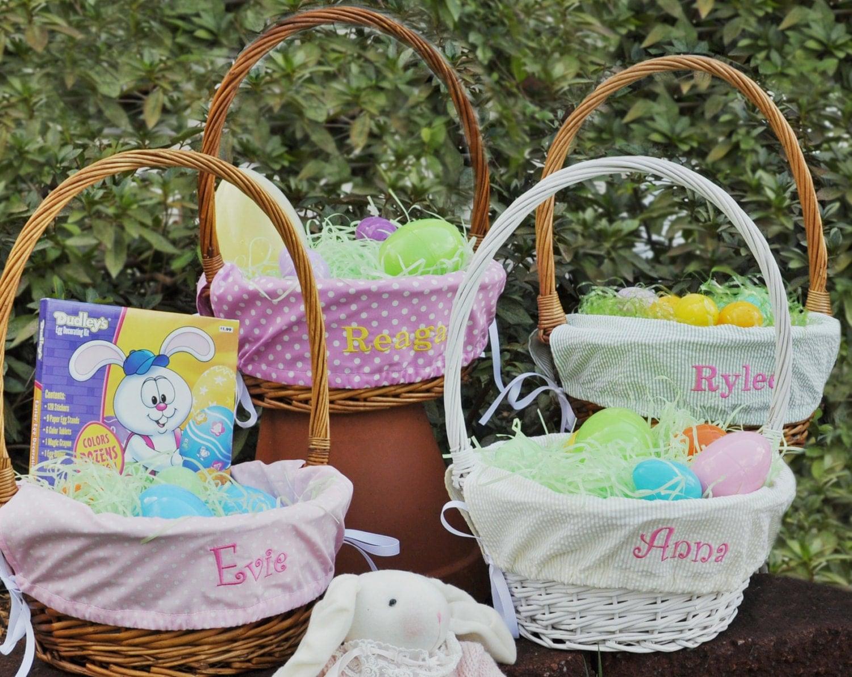 Girls Monogrammed Easter Basket Liner Choose From By