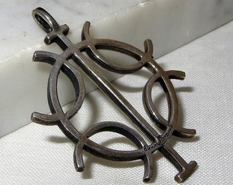 "Scandinavian Mid Century Modern 830 Silver Pendant 2"""