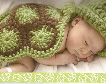 Turtle Cape - Hat - Booties - 0-3 mo - photography prop - made to order