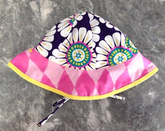 Happy Purple Sunflower (version 2)  Sunhat with ties for an adjustable fit