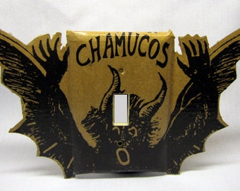 Boogie Man 3D Recycled Double Switch Plate Cover, Upcycled Chamucos Tequila Box, Bogeyman, Devil, Chupacabra, Monster, Dark, Scary, Horns