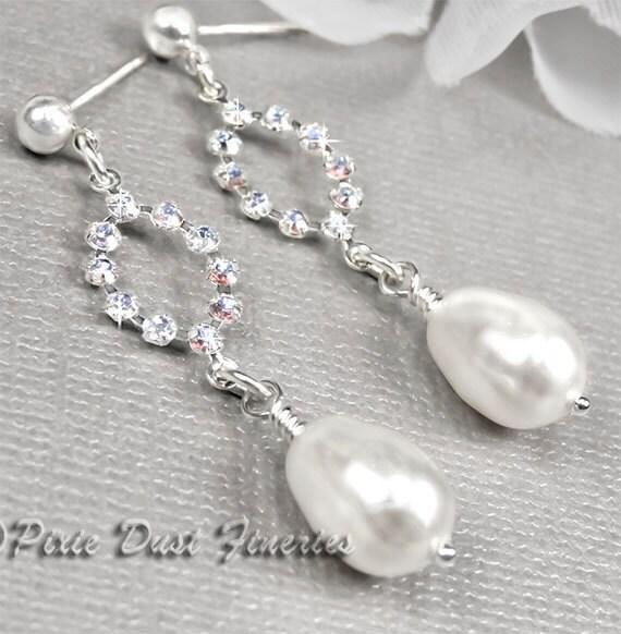 Pearl Bridal Earrings, White Pearl Drop with Swarovski Crystals Bridal Earrings, Bridal Earrings, Wedding Earrings  Angelica WE0040