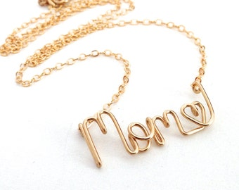 Mom Name Necklace. 14k Gold Mom Necklace. Aziza Jewelry