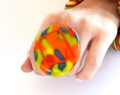 Cocktail Ring Marbled Glass - big ring, bold ring, handmade statement ring - CALYPSO - 2.2 inch