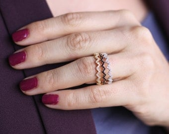Stackable Gold Zig Zag Ring / Silver  Zig Zag Ring with CZ  / Micro Pave Diamond Ring / Thin Gold Ring