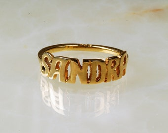 Sterling Silver  Name Ring / Personalized Name Ring  / Handcrafted Name Ring / Gold Name Ring