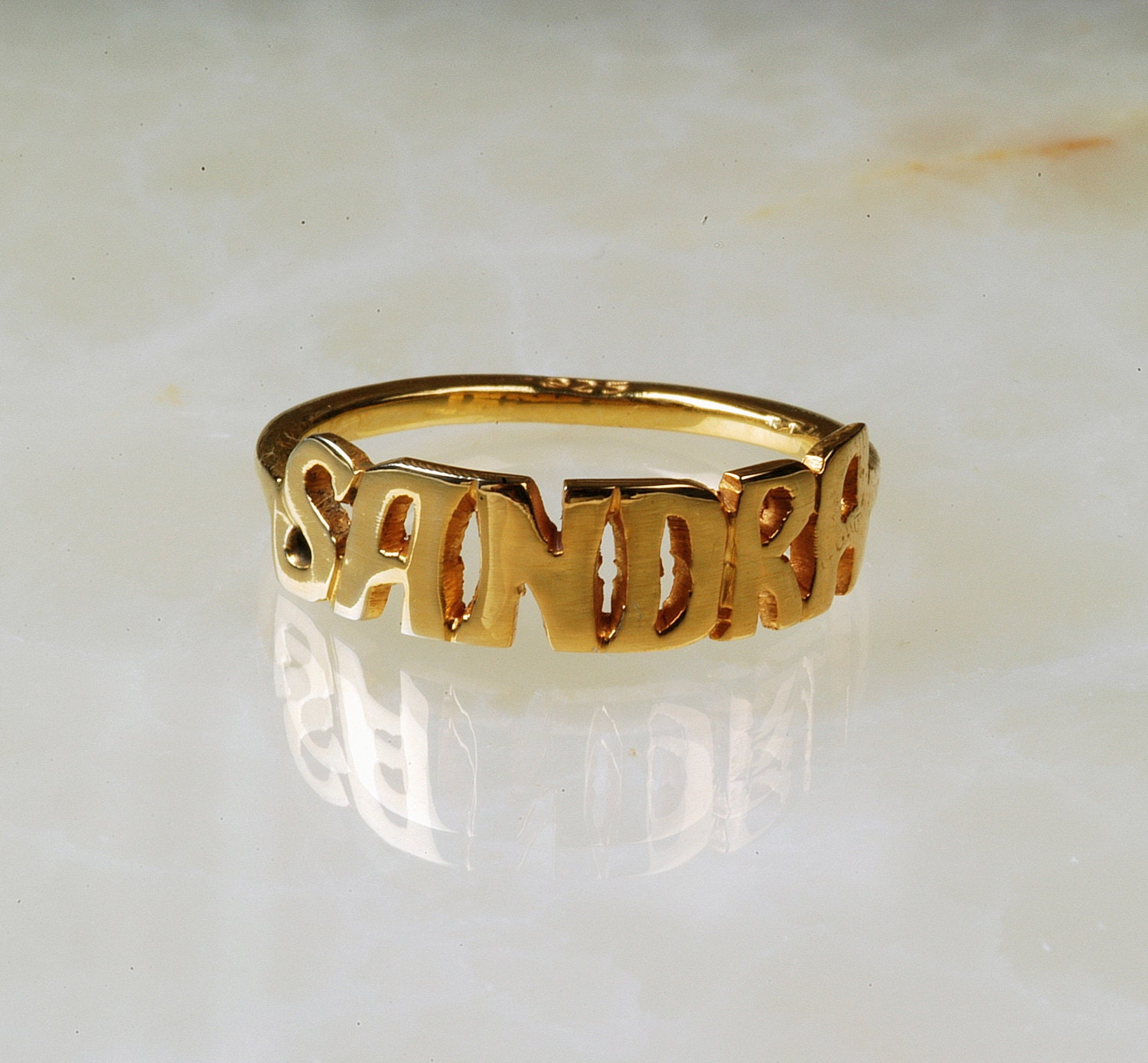 14k solid gold name ring personalized name ring