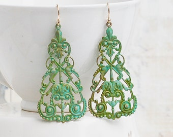 Lace Earrings,Filigree Earrings,Large Lace Filigree Earrings,Bohemian Earrings,Green Verdigris Earrings,Patina Rustic Gypsy Jewelry