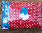 Dr. Suess Blue Fish travel pillow PILLOW and COVER
