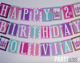 Princess Birthday Party Banner Decorations Fully Assembled